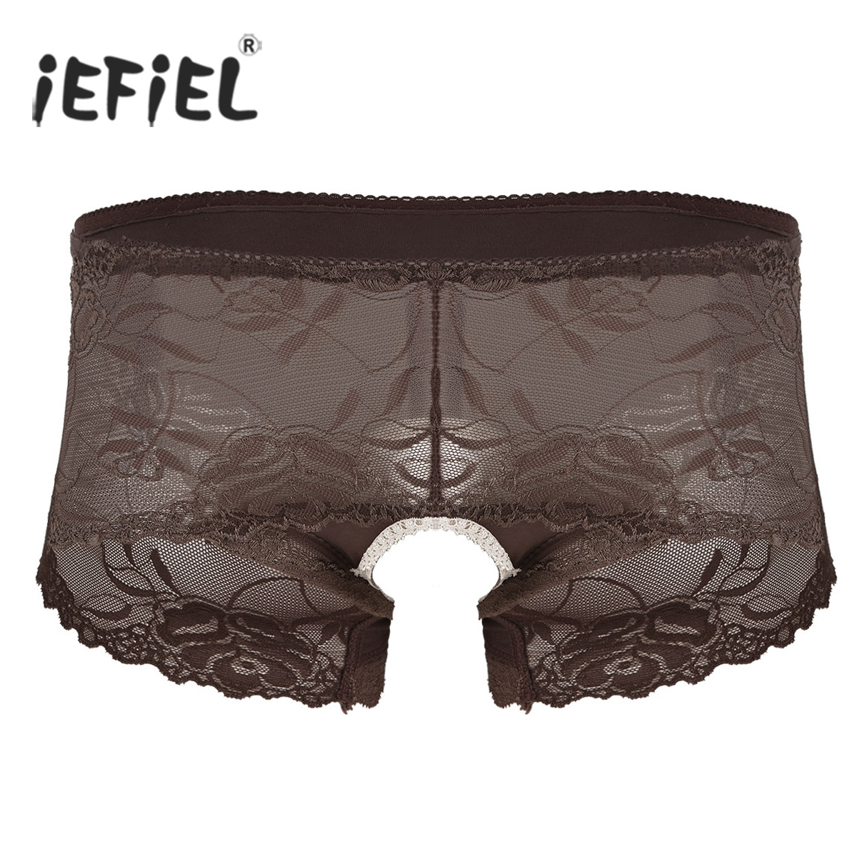 Sexy Mens Sissy Gay Male Panties High Waisted See Though Sheer Ruffle Lace Bikini Briefs Stretch Open Butt Triangle Underwear