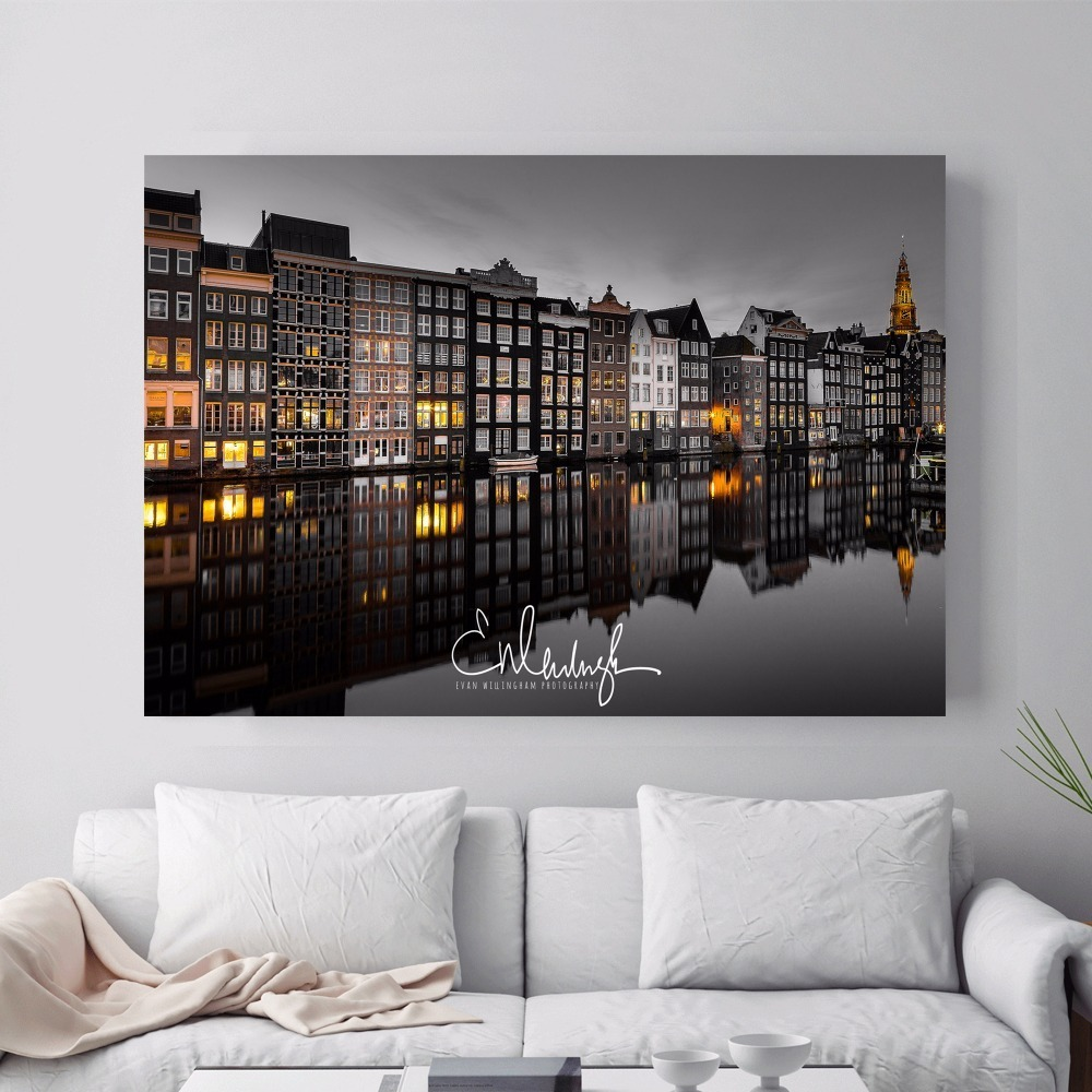 Canvas Painting Photos-Posters Amsterdam Living-Room Prints Decorative-Picture Wall-Art