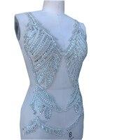 pure handmade beads patches sew on rhinestones applique trim for wedding dress