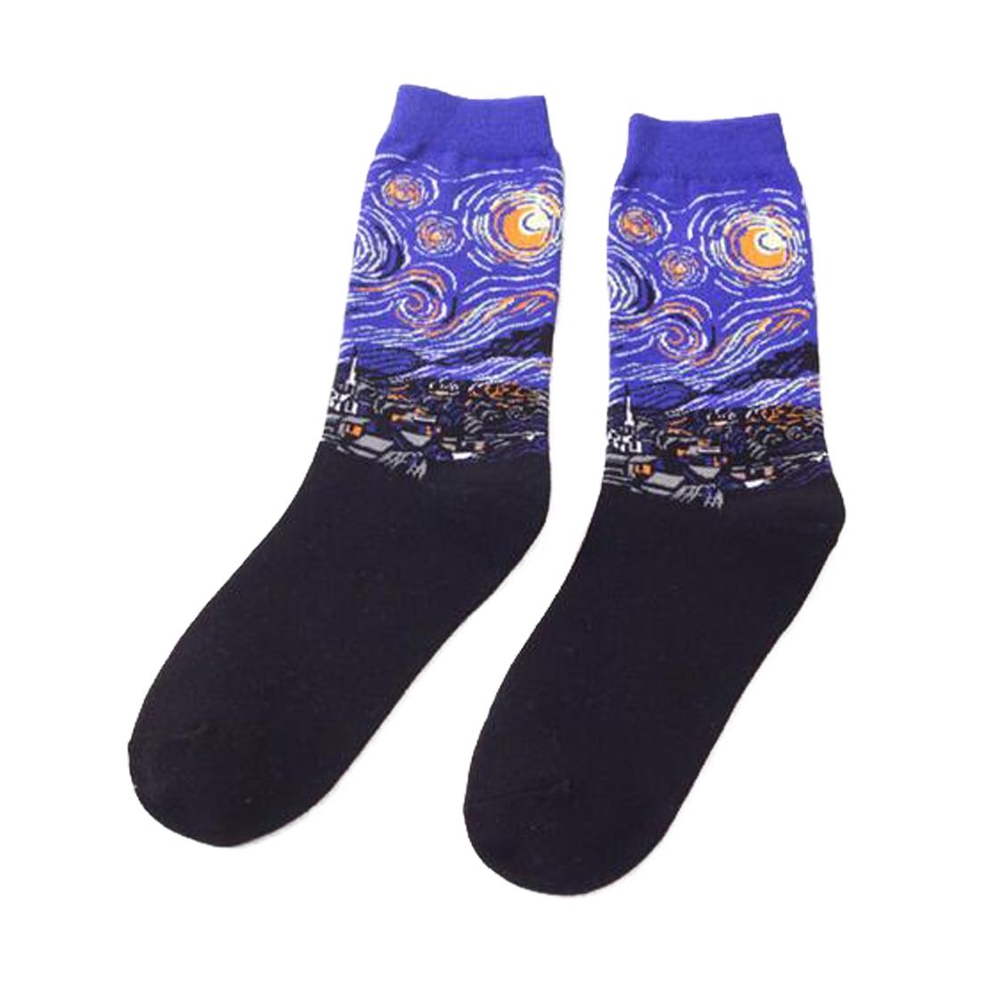 Hot 1 Pair Funny Novelty Starry Night Vintage Retro Women Men Unisex Art Painting Cotton Socks