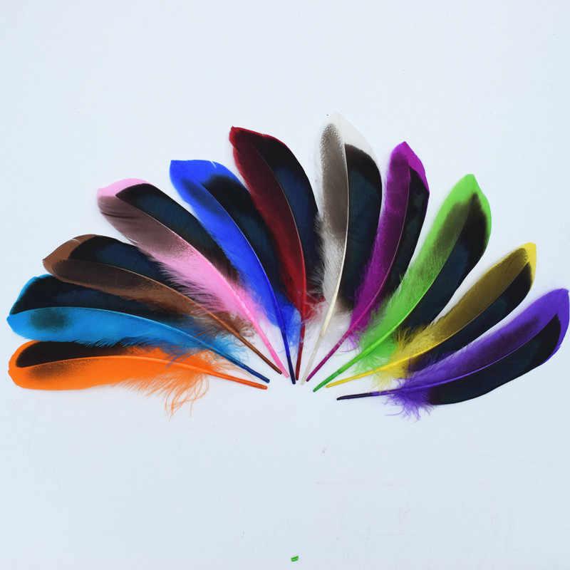 5 Piezas Plumas De Ganso Sombrerería /& Crafts 12-18cm Negro Con Plata Diseño Web
