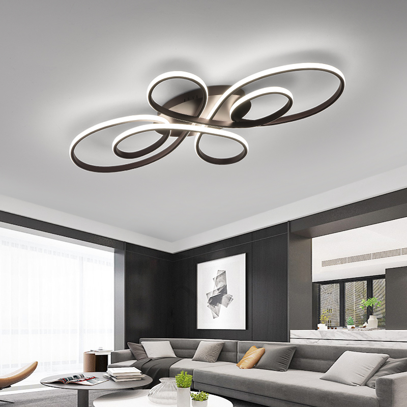 White brown led lamp Modern Led Ceiling Chandelier For Livingroom Bedroom Study Room Home Deco Remote dimming Chandelier Fixture