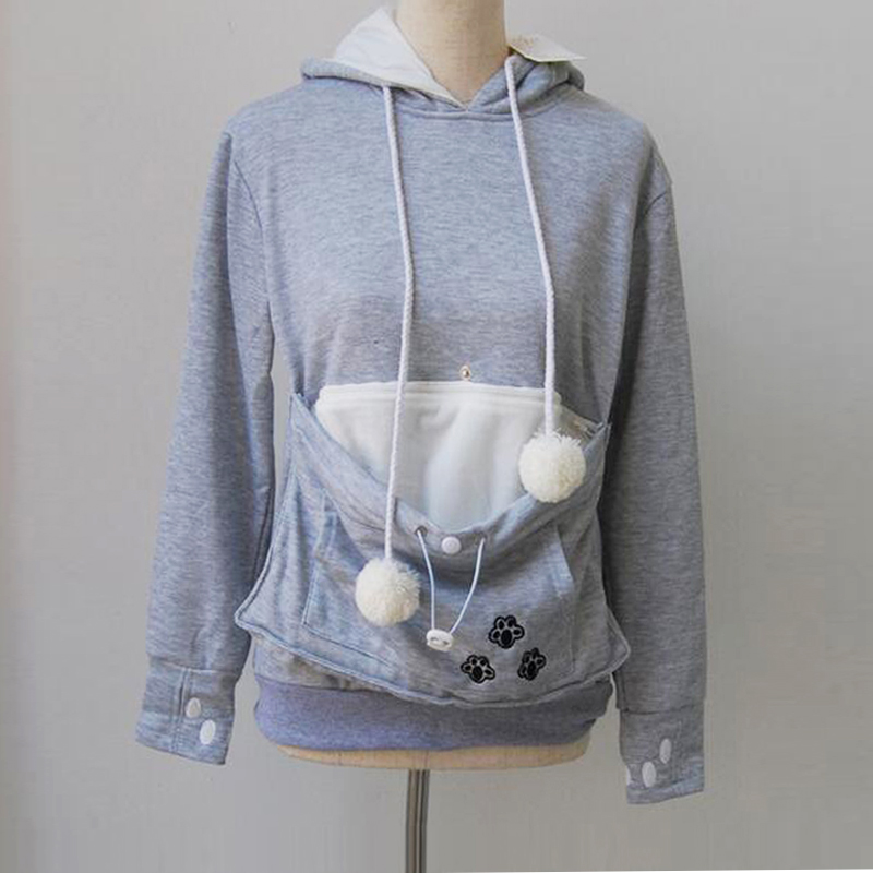 SESOAF Hoodies With Cuddle Pouch Mewgaroo Nyangaroo Dog Pet Hoodies For Casual Kangaroo Pullovers With Ears Sweatshirt