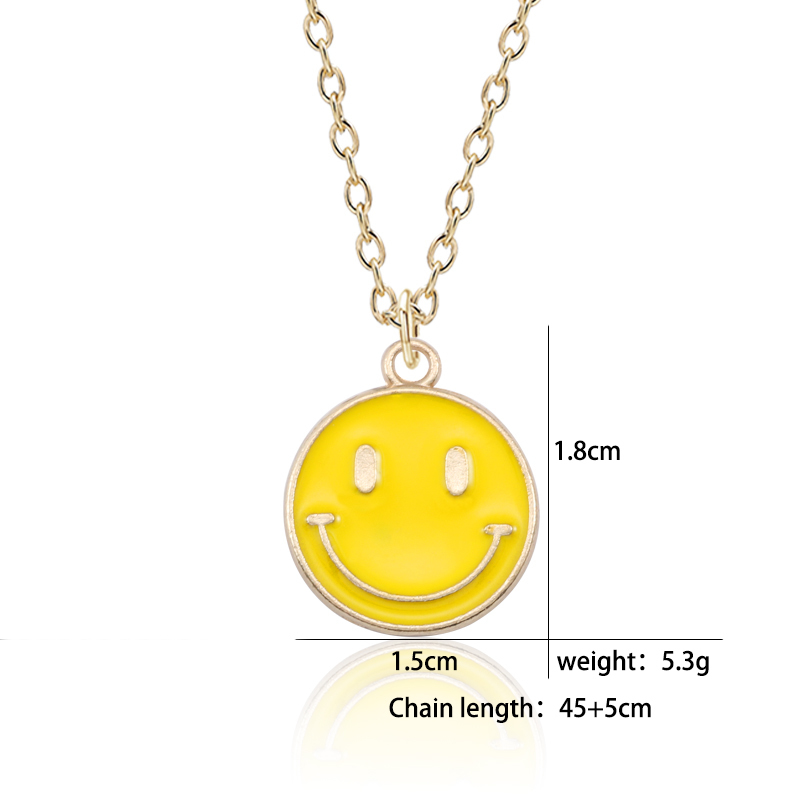 Lovely-Smiling-Face-Pendant-Necklace-Female-Fashion-Enamel-Yellow-Pink-Black-Smile-Round-Gold-Chain-Women (1)