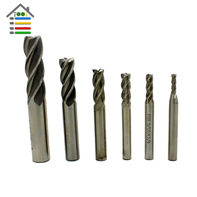 6pc HSS Milling Cutter Set CNC Straight Shank 4 Flutes End Mills Metal Drill Bit 1/8 3/16 1/4 5/16 3/8 1/2 Metalworking 10pcs box 1 8 inch 0 8 3 17mm pcb engraving cutter rotary cnc end mill 0 8 1 0 1 2 1 4 1 6 1 8 2 0 2 2 2 4 3 17mm