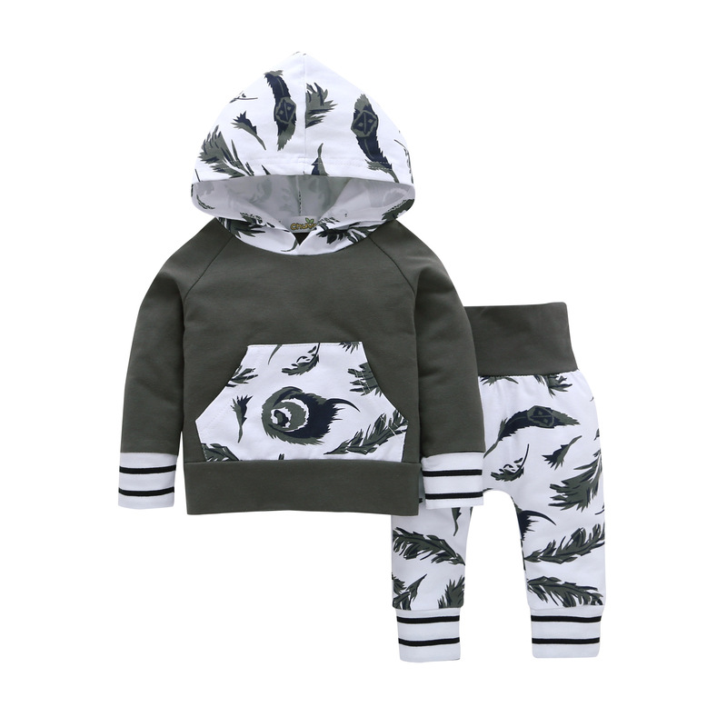 Children Baby Girls Clothing 2018 Autumn Winter long-sleeved hoodie Tops+pants infant 2pcs suit baby boy clothes outfit