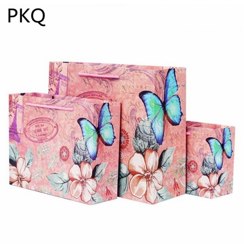 Pink Flowers Butterfly Paper Bag Festival Gift Bags With
