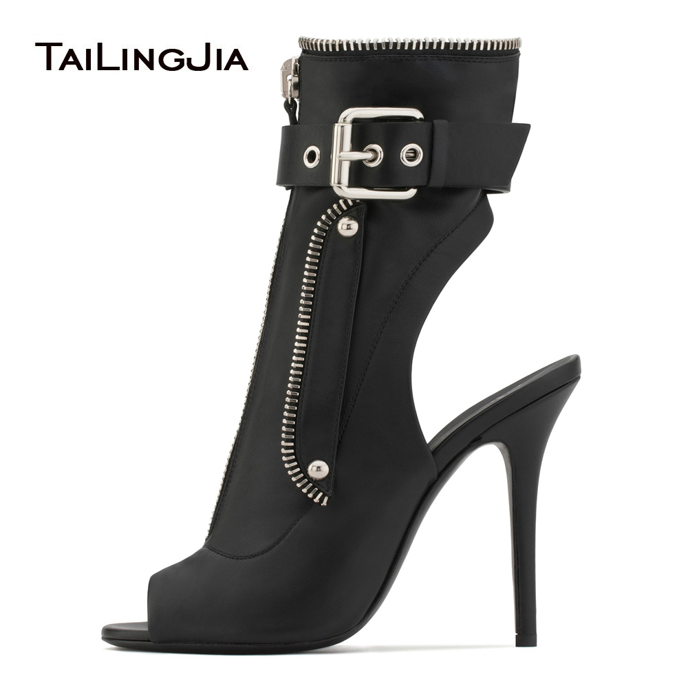 Black Peep Toe Slingback High Heel Ankle Boots Front Zipper Buckle Strap Booties Ladies Summer Heels Sexy Dress Shoes Women 2018 wired remote shutter release for nikon d80 d70s 98cm length