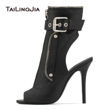 Hot Fashion Black Peep Toe Slingback High Heel Ankle Boots Front Zipper Buckle Strap Boots Ladies Summer Heels Punk Woman Boots цены