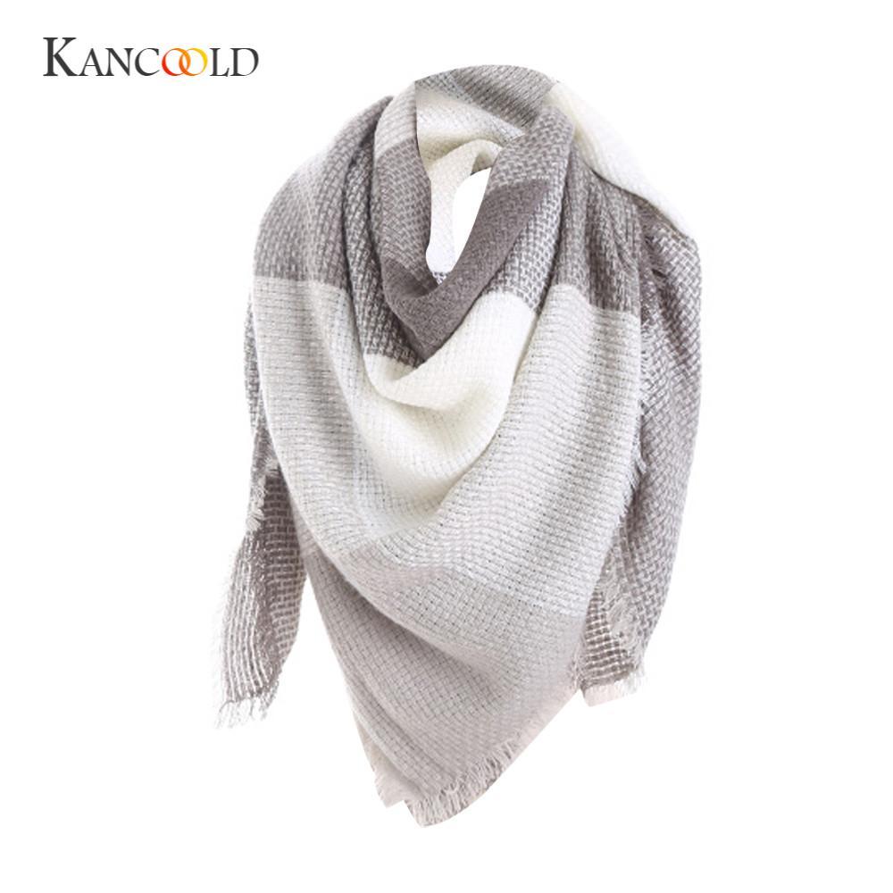 KANCOOLD silk   scarf   shawl Hot Unique Style Blend Blanket Oversized Tartan   Scarf     Wrap   Shawl Plaid Checked Pashmina P jan22
