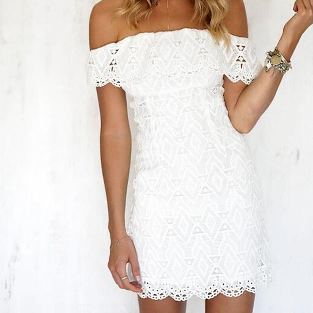 Yjsfg casa sólida branco fora do ombro curto vestidos de festa clube das mulheres verão magro bodycon lápis vestido 2017 senhoras rendas