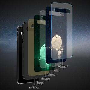 Image 4 - Luxus Luminous Gehärtetem Glas Telefon Fall Night Glow Telefon Zurück Abdeckung Für Galaxy S7 8 9 10 Plus Hinweis 8 9 10e Fall Coque Funda