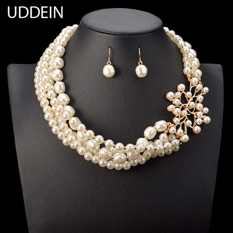 Chokers Maxi Necklace & Pendant Multi layer simulated Pearl Flower Jewelry Bridal Wedding Accessories African Beads Jewelry Sets