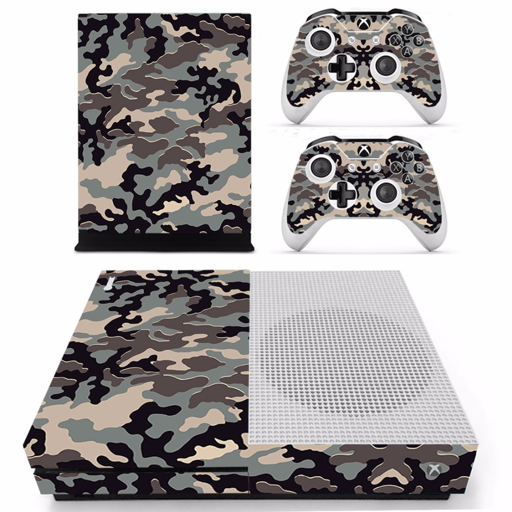 Camouflage #3 Vinyl Skin Sticker Protector for Microsoft Xbox One SLIM and 2 controller skins Stickers for XBOXONE S