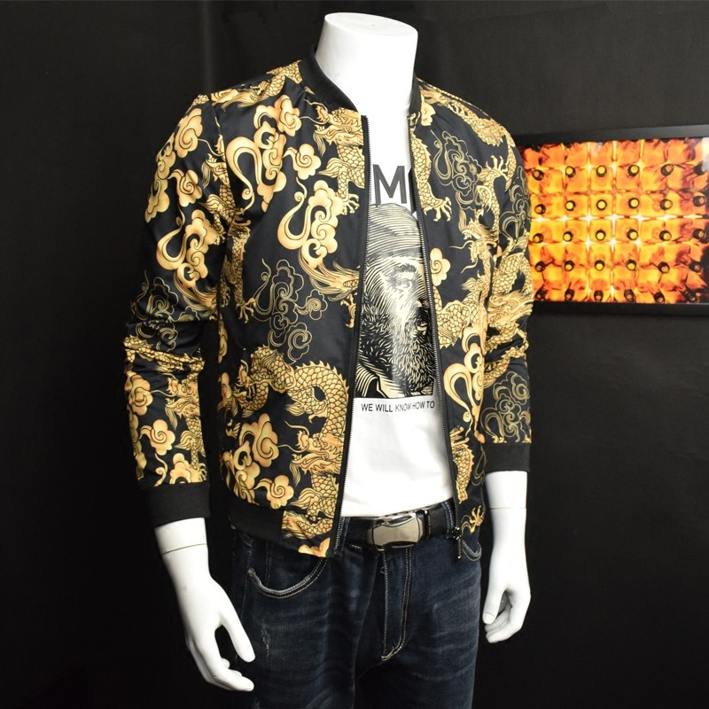 Slim Col Pilot Floral Court Fit Taille Occasionnel Hommes Plus La Imprimer Veste Dragon Baseball Éclair Fermeture Outwear Mode Bomber aqx6zx