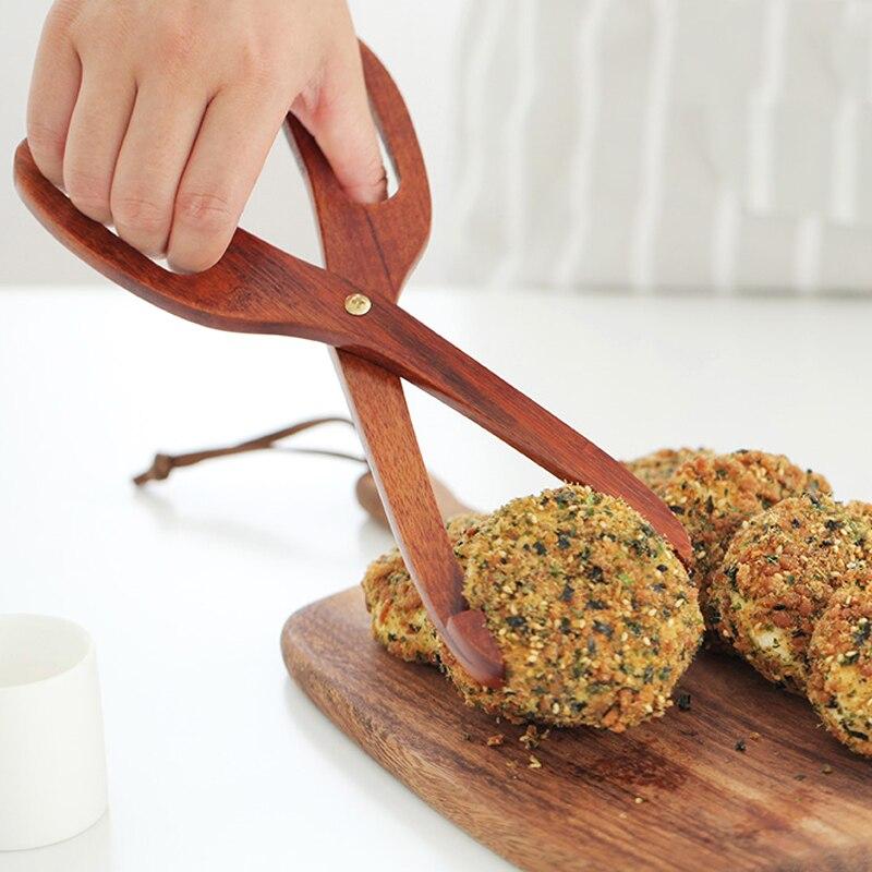 Premium Wooden Kitchen Tongs Food Clamp Toaster Tongs Creative Scissor Type Cake Bread font b Salad