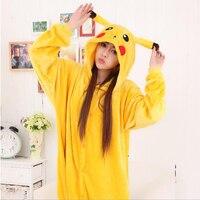 Unisex Adult Pikaqiu Animal Cosplay Costumes Pijama Women Men Flannel Anime Sleepwear Couple Hooded Pyjama Winter