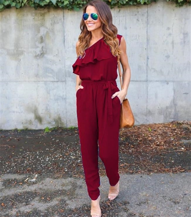 2018 New Bodycon Jumpsuit Plus Size Jumpsuits And Rompers For Women Ladies Fashion Dew Shoulder Conjoined Trousers Multicolor