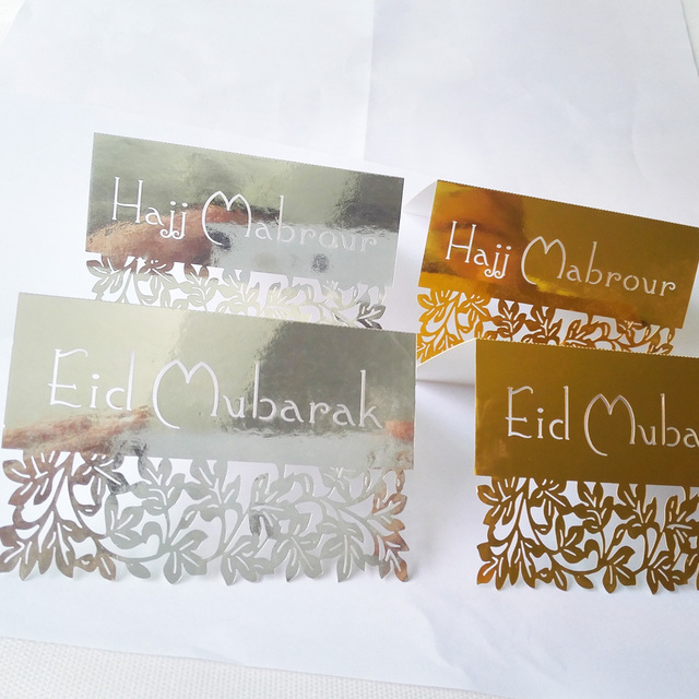 Aliexpress buy 50pcs gold silver laser cut eid mubarak place 50pcs gold silver laser cut eid mubarak place card invitation card gift card hajj mabrour table m4hsunfo