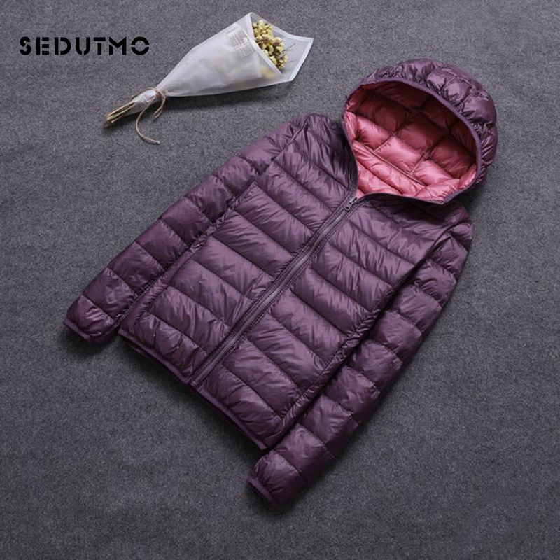 SEDUTMO Winter Plus Size 3XL Duck   Down     Coat   Women Hooded Two Side Wear Jackets Ultra Light   Coat   Spring Puffer Jacket ED616