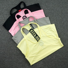 ФОТО Keep Going Women Sports Vest Sleeveless Shirts Tank Tops Vest Fitness Running Clothes Tight Quick Dry Yoga Tanks Singlets P097