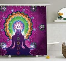 Purple Mandala Shower Curtain  Practicing Jade Floral Pattern Bathroom Curtain Douchegordijn Rideau De Douche Cortina Ducha 3D