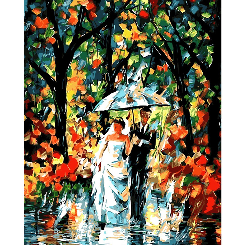 Rain fog in London city landscape Painting By Numbers Paint On Canvas Acrylic Coloring Painting By