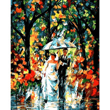 Rain fog in London city landscape Painting By Numbers Paint On Canvas Acrylic Coloring For Home Wall Decor