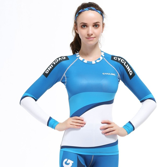 4 Way Stretch tecido de Compressão Base de Camada Shirt para As Mulheres Casuais Treino de Fitness Feminino com Mangas Compridas T-shirt