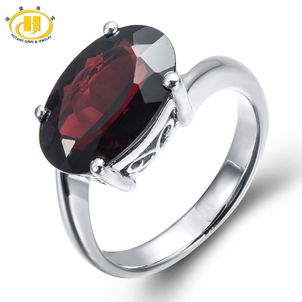 HUTANG Classic 6.02ct Natural Black Garnet Solid 925 Sterling Silver Ring Oval Gemstone Fine Jewelry Women's Christmas Gift