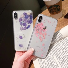 Real Dried Flowers Handmade Phone Cases For iPhone XS Max XR 6 6s 7 8 Plus X Case Floral Clear Cover Silicone TPU Soft Case Capa real dried pressed flowers phone cases for iphone 11 pro max x xs max xr 6 6s 7 8 plus silicone handmade floral case cover coque