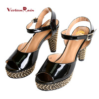 WesternRain Sapato Feminino Schoenen Heels Women Shoes High Heel 2018 Latest African Shoe Blcke F3894 4