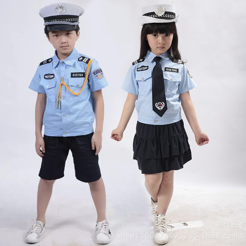 Girls Clothes Set Halloween For Cosplay Costume Stage Performance Pleated Skirt+Police Uniform+cap+tie For Kids Boys
