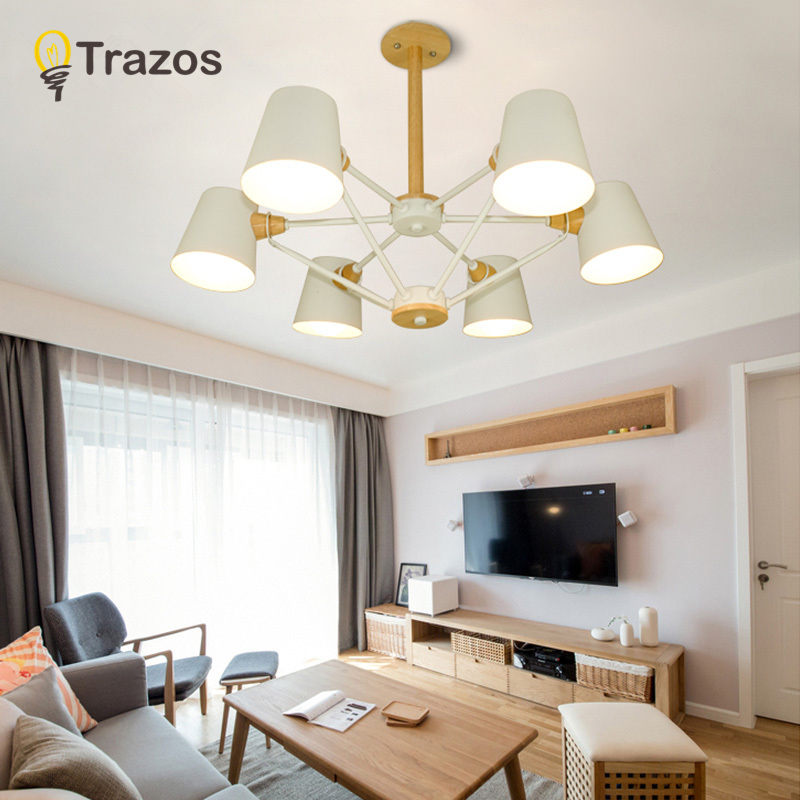 TRAZOS Nordic Chandelier E27 With Iron Lampshade For Living Room Suspendsion Lighting Fixtures Lamparas Colgantes Wooden Lustre цена в Москве и Питере