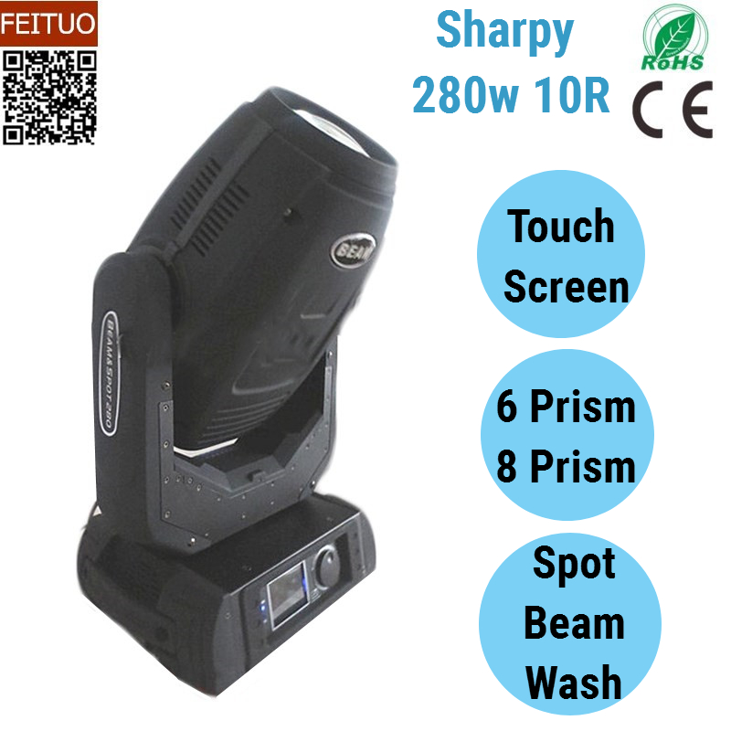 8pcslot Sharpy 280w 10R Beam Moving Head Light Robe Point Beam Spot Wash 3in1 Stage Lighting Luces DMX Disco Party Light