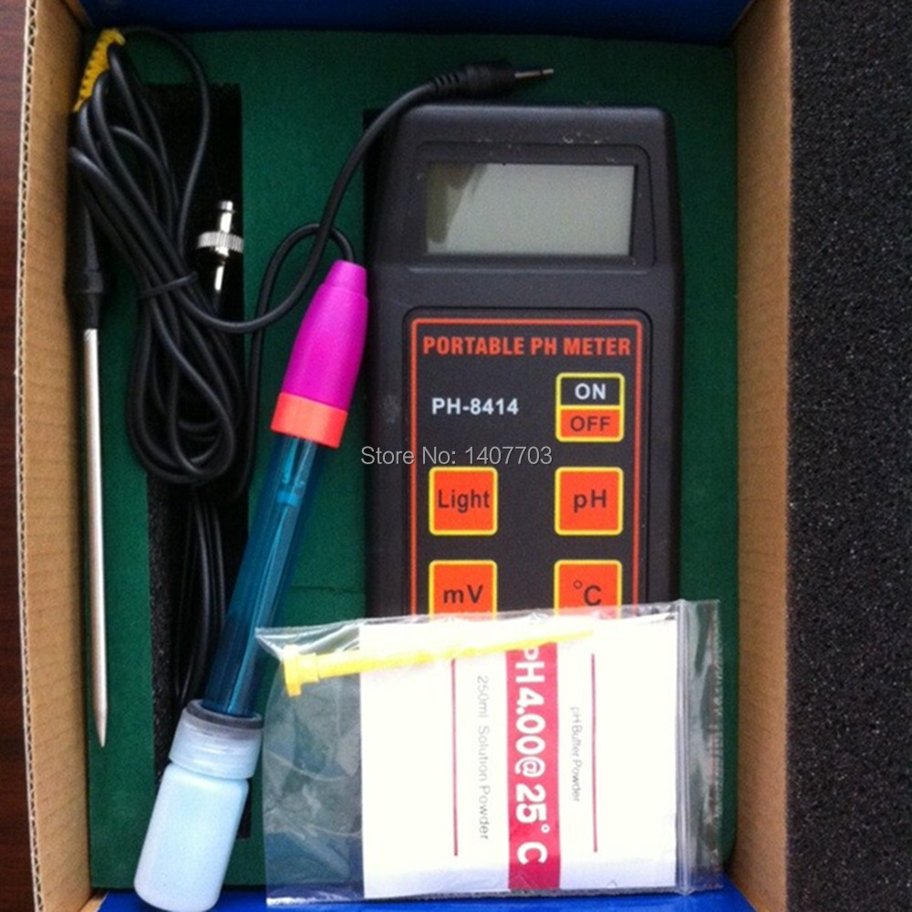 Portable pH Orp Temperature meter with Battery and pH Buffer Powder