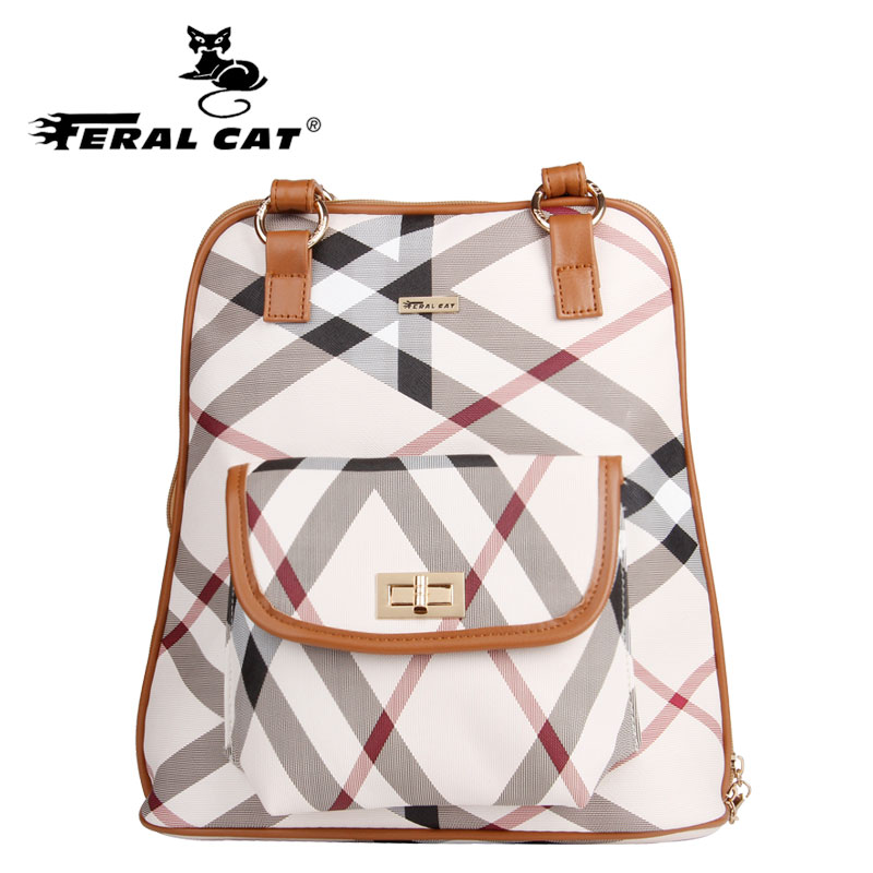 FERAL CAT Female Famous Brands Women Backpack School Style Leather Bag For College Simple Design Casual Daypacks mochila