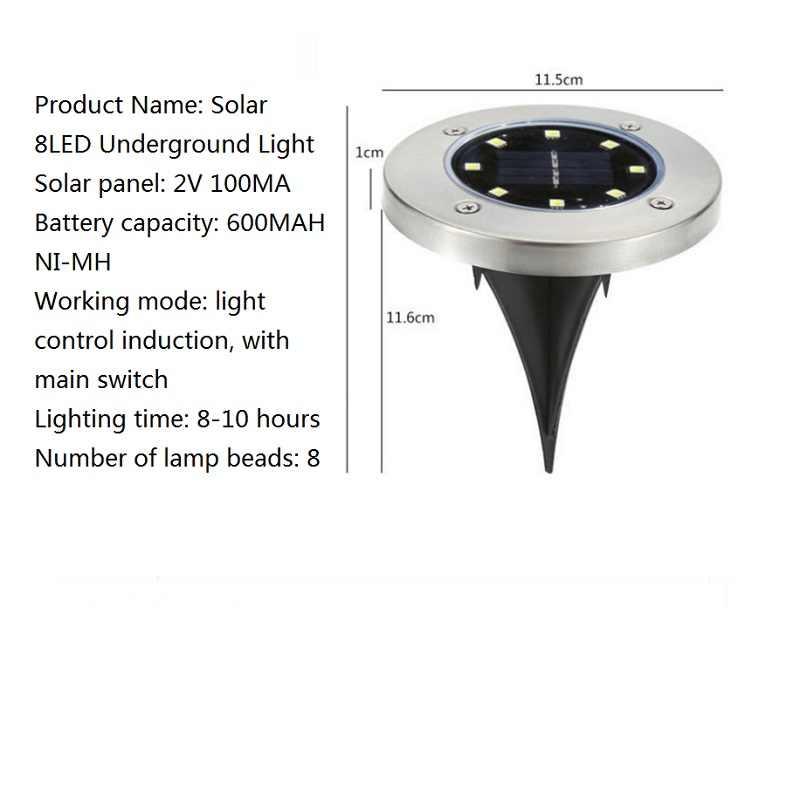 LED solaire lumière de pelouse chaud/froid blanc lampe au sol étanche enterré/jardin/paysage canal éclairage extérieur