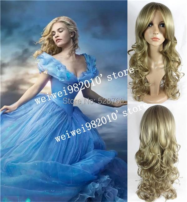 Movie Princess Cinderella Wig Long Curly Ash Blonde Anime Cosplay