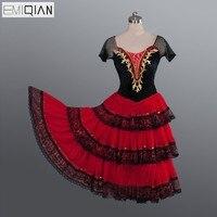 דון קישוט שחור מבוגר אדום רומנטי בלט מקצועי טוטו טוטו ארוך שמלת בלט ריקוד תלבושות ריקוד Kitri ספרדית ספרדית
