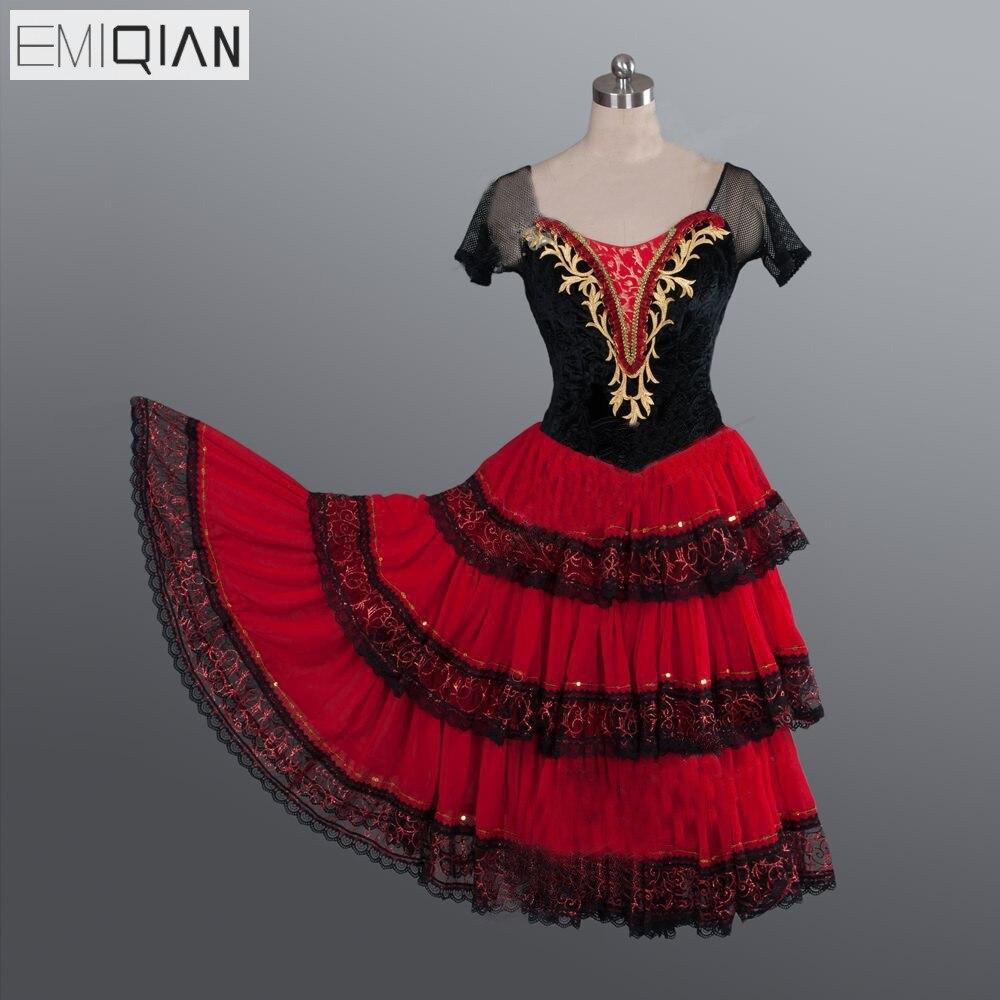 Don Chisciotte Adulto Nero Rosso Romantico Tutu di Balletto Professionale Tutu Lungo Spagnolo di Ballo del Costume Spagnolo Kitri Danza Vestito Da Balletto