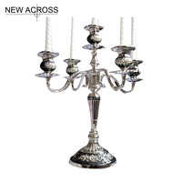 Gohide 1pcs Advanced Vinyl Candle Table Silver Plated High Pin Candelabra With Black Decorative 5 Heads Candlestick