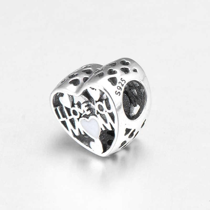 Полный Любви 925 Серебряный, с гравировкой I «love You Mom» тонкие бусины подходят к оригиналу Pandora Шарм браслет ювелирных изделий