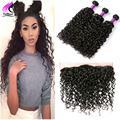 Brazilian Water Wave Virgin Hair With Closure 8A Ear To Ear Lace Frontal Closure With 3 Bundles Human Hair With Frontal Closure