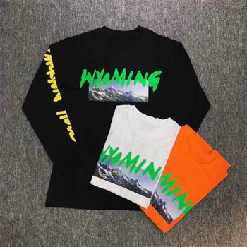Kanye West WYOMING L/S T-shirt długi T T Shirt mężczyźni kobiety 1:1 wysokiej jakości 100% Top Tees lato styl Hip Hip T Shirt