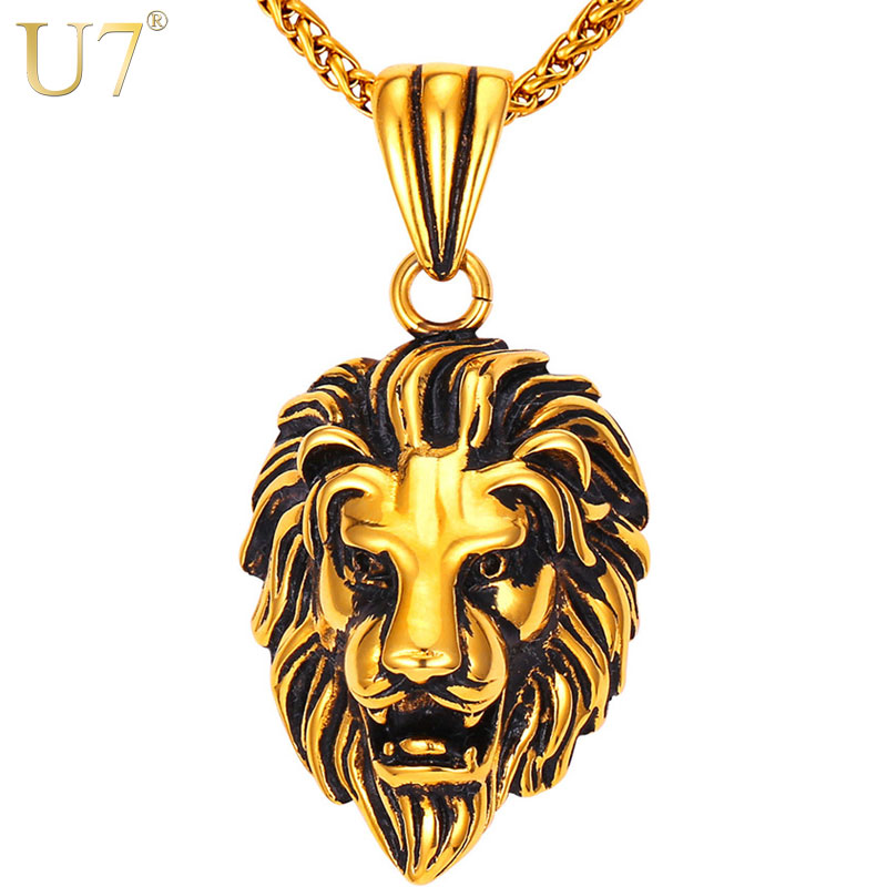 U7 Black Lion Charms Necklace Rock Punk Style Men/Women Retro Jewelry Gold Color Stainless Steel Chain Necklace & Pendant P807 punk style solid color hollow out rhinestone leaf shape pendant necklace for women