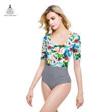Print Floral One Piece Swimsuit Vintage Swimwear Female beach bathing suit women bodysuit women One Piece Swimsuit 2016 swim