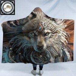 Wolf Warrior by SunimaArt Hooded Blanket Adults Indian Wolf Dreamcatcher Sherpa Fleece Microfiber Wearable Picnic Throw Blanket