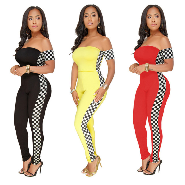 8f55c2226f54 2019 Summer Women Plaid Racing Print off-shoulder Slim Fitness Jumpsuits  Body Suit Up Sexy
