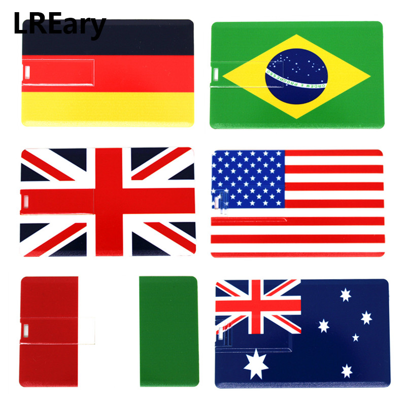 Fashion Credit Card USB Flash Drive 4GB 8GB National Flag Pen Drive 16GB U Disk Memory Stick Pendrive 32GB Brazil/Australia